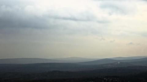Winter hills haze. Panorama. Time Lapse Footage