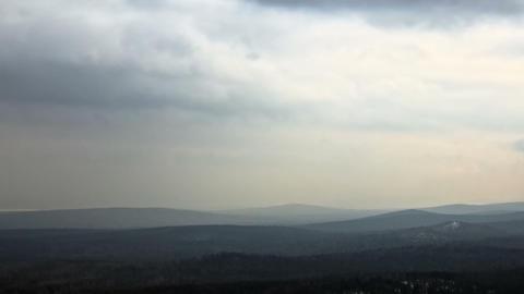 Winter hills haze. Panorama. Time Lapse Stock Video Footage