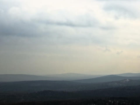 Winter hills haze. Panorama. Time Lapse. 640x480 Footage