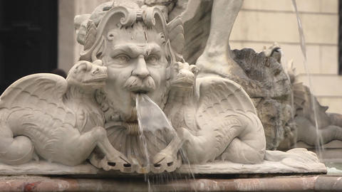 Fountain of the Four Rivers in Rome, Italy Stock Video Footage