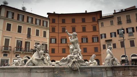 Neptune Fountain, Piazza Navona, Rome, Italy Stock Video Footage
