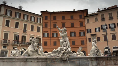 Neptune Fountain, Piazza Navona, Rome, Italy Footage
