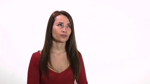 Woman holding question marks face emoticon Stock Video Footage