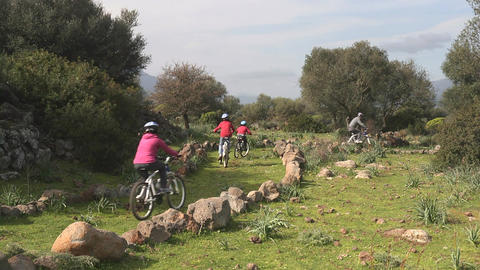 Mountain Biking, Sardinia, Italy stock footage
