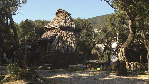 View Of A Hut, Sardinia, Italy Stock Video Footage