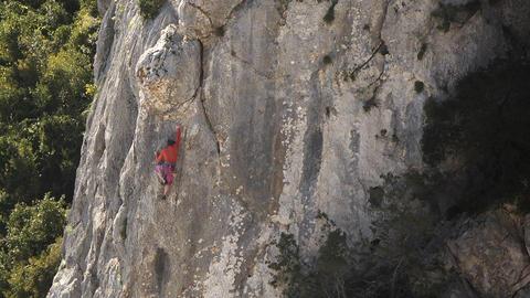 Woman Rock Climbing, Sardinia, Italy Stock Video Footage