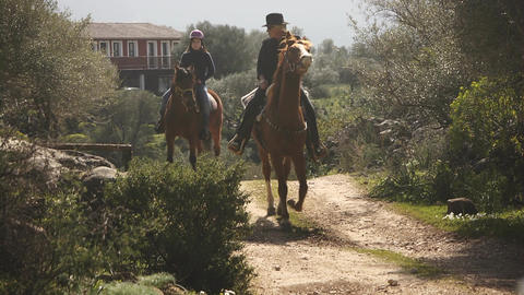 Horseback Riders Riding On Sardinia Horses, Italy Footage