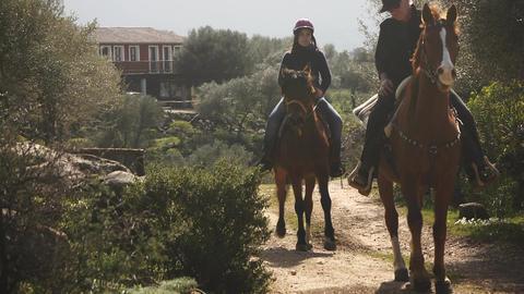 Horseback Riders Riding On Sardinia Horses, Italy Stock Video Footage
