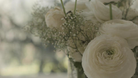 Senior woman with flowers at home Stock Video Footage