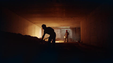 Men at work in construction site Stock Video Footage