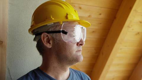 Portrait of Construction Worker Stock Video Footage