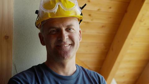 Portrait of Construction Worker Footage