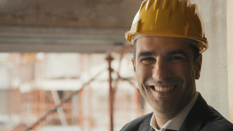 Portrait of Architect with Helmet in Construction site Footage