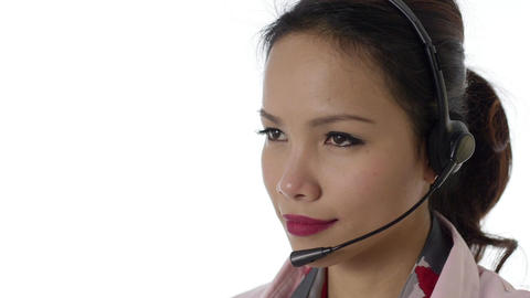 Asian Businesswoman with Headset on White Background Stock Video Footage