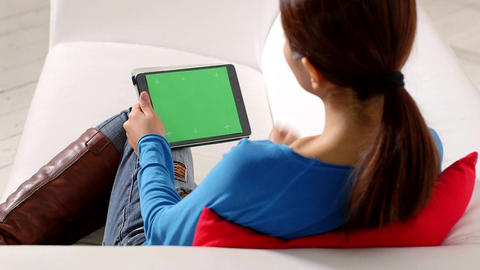Asian Girl Using Touch Pad Device Stock Video Footage
