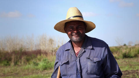 People and Agriculture Portrait of Black Farmer wi Stock Video Footage