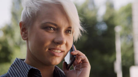 Business Woman Standing Near Office and Talking on phone Stock Video Footage