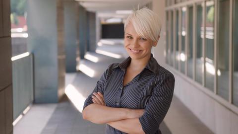 Portrait of Confident Businesswoman Smiling at Camera Live Action