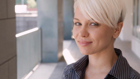 Portrait of Confident Businesswoman Smiling at Camera Stock Video Footage