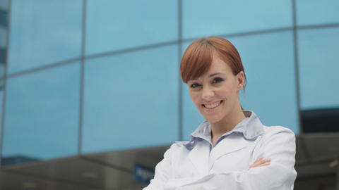 Portrait of Happy Female Doctor Smiling at Camera Stock Video Footage