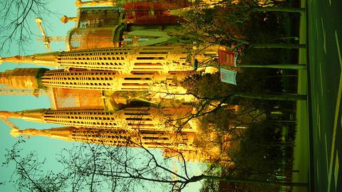 Cathedral Sagrada Familia famous church and landma Stock Video Footage