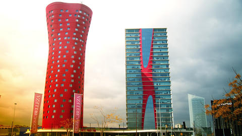 The Hotel Porta Fira Barcelona, red and shaped lik Footage