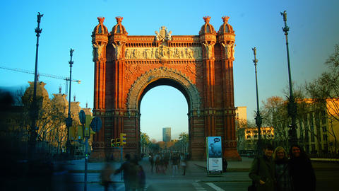Sunset At The Arc De Triomf In Barcelona, Spain stock footage