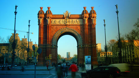Sunset at the Arc de Triomf in Barcelona, Spain Stock Video Footage