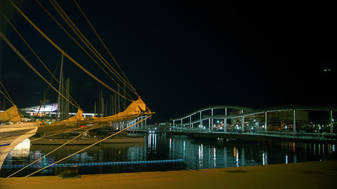 Time lapse in Barcelona's port olympic, night view Stock Video Footage
