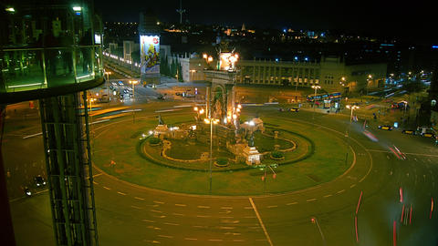 Arenas de Barcelona and Plaza de Espana in Barcelo Stock Video Footage