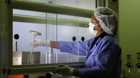 Medical Research Center Woman Cleaning Test Tubes Stock Video Footage