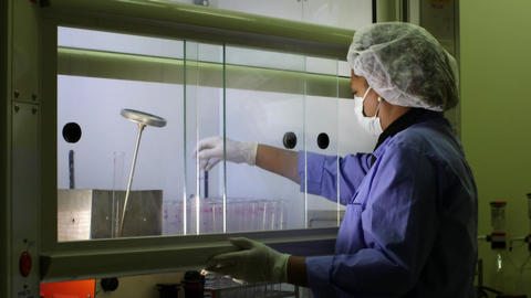 Medical Research Center Woman Cleaning Test Tubes Footage