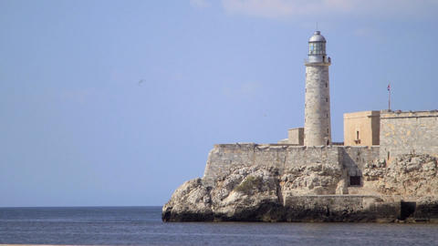 Lighthouse and Castle in La Habana Cuba Viewed Fro Footage