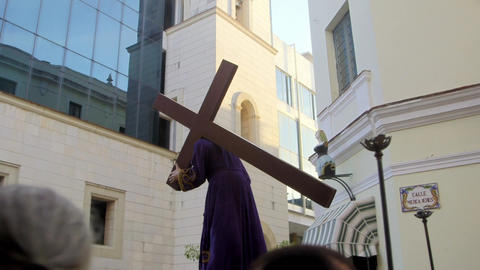 Religious Procession For Easter in La Habana Cuba Stock Video Footage