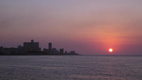 Skyline and Sunset in La Habana Cuba Stock Video Footage
