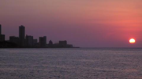 Skyline and Sunset in La Habana Cuba Footage