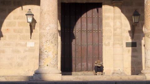 View of Cathedral and Statues in Plaza De La Catedral Stock Video Footage