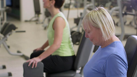People Training In Fitness Club stock footage