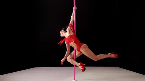 Beautiful Woman Doing Pole Dance Footage