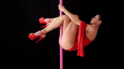 Beautiful Woman Doing Pole Dance Stock Video Footage