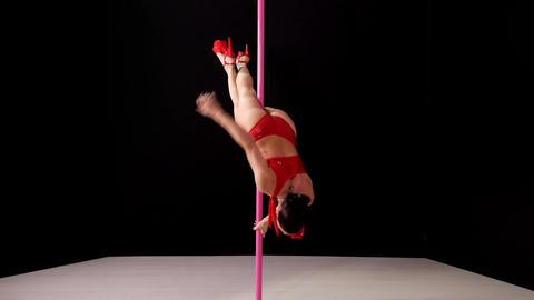 Beautiful Woman Doing Pole Dance Stock Video Footage