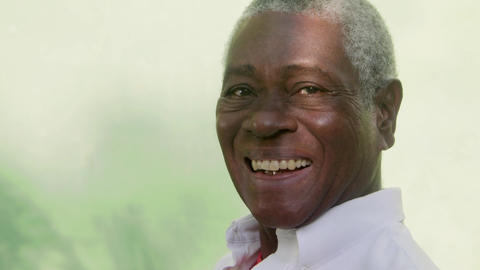 Portrait of Senior Black Man Looking and Smiling Footage