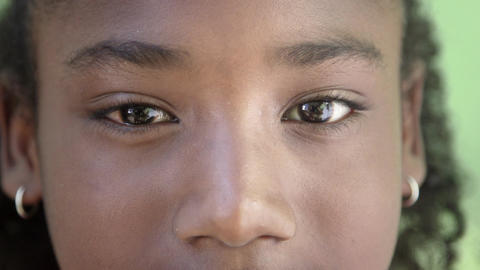 Portrait of Happy Young African Girl Looking at Camera Stock Video Footage