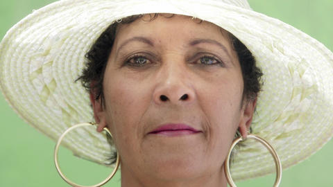 Portrait of Happy Mature Hispanic Lady Looking at camera Stock Video Footage