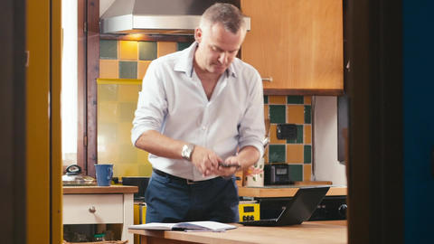 Multitasking Business Man with Child Working at home Stock Video Footage