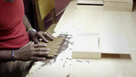 African American Worker in Cigar Factory in Havana Footage