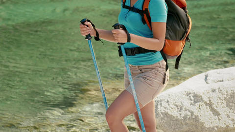 Young People Hiking and Trekking on Mountain Stock Video Footage