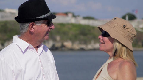 Senior People and Travel Old Man and Woman Walking Stock Video Footage