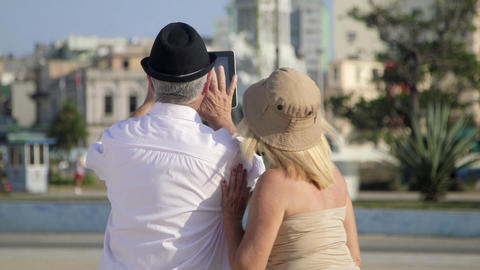 Travel And Elderly Man And Woman Couple Of Tourist stock footage