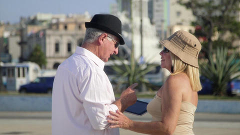Travel and Elderly Man and Woman Couple of Tourist Stock Video Footage